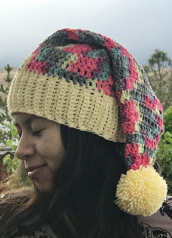 9648201f93073 Camouflage Santa Hat Pink Yellow Green Blue Red Yellow Pom Pom Crocheted  READY TO SHIP Office Holiday Party Adult One-Of-A-Kind Christmas