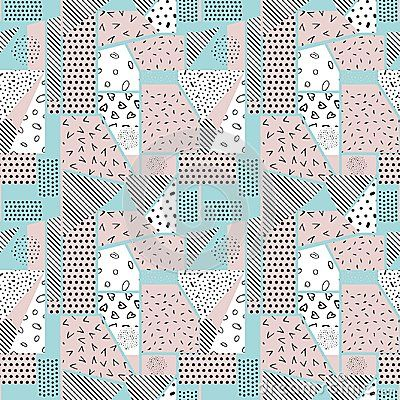 Seamless abstract background-vector illustration. Pattern from pieces of different textures. Patchwork.