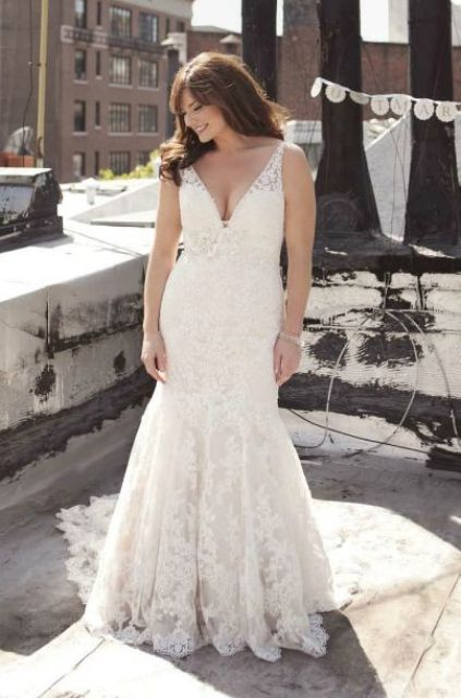 fit and flare lace deep V neckline wedding dress
