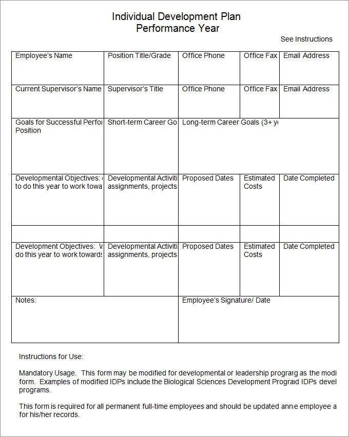individual development plan templates