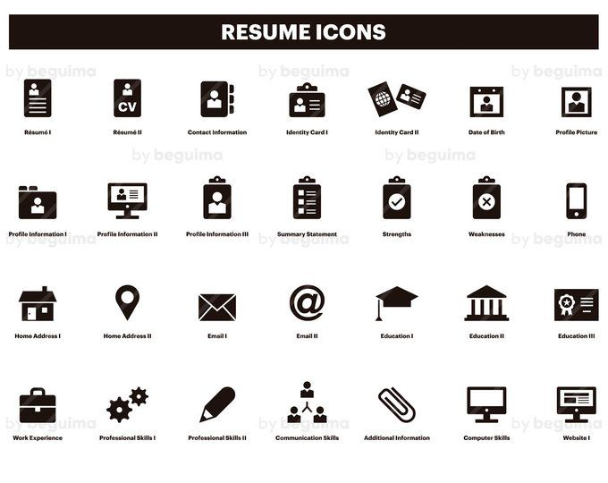 Resume Icons Cv Clip Art Curriculum Vitae Clipart Set Of Icons Line Linear Black Outline Minimalist Vector File Eps Jpg Png Digital Download Resume Icons Icon Clip Art