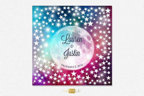 Starry sky wedding guest book wedding signature by LovaluDesign