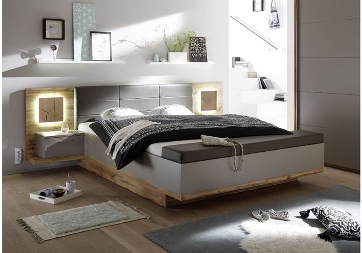62-00141 Bett 180 x 200 cm mit Bettkasten Wildeiche/ Basaltgrau mit Abs. Hirnholz