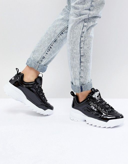 cec5087fbd4 Fila Disruptor Sneakers In Patent Black