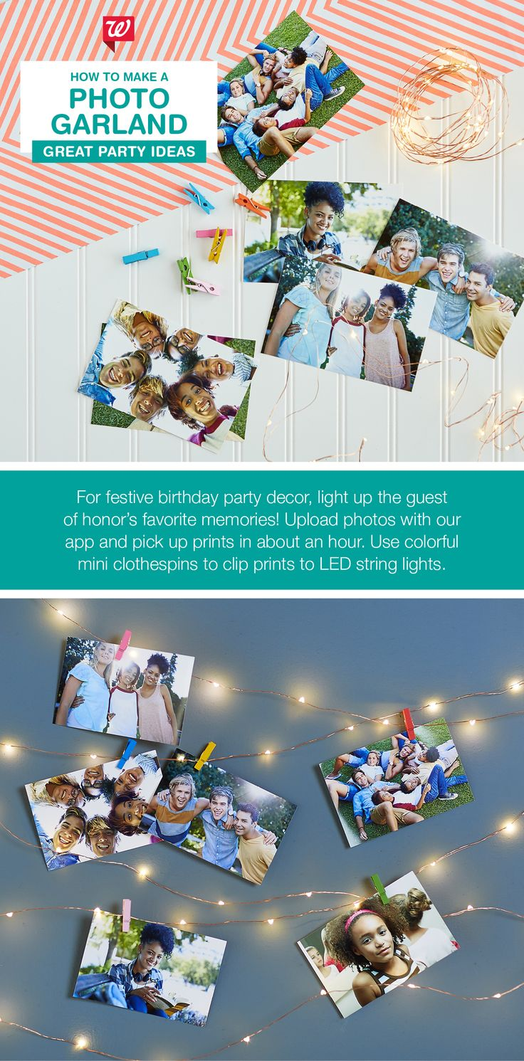 Create a festive photo garland using string lights and pics of the guest of honor. Perfect party décor for summer nights.