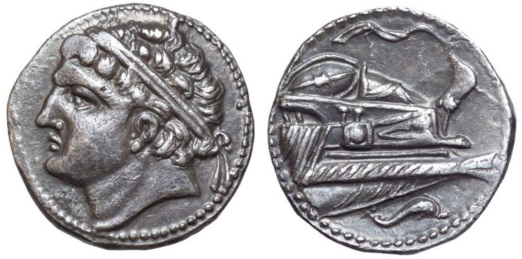 Carthaginian shekel. AR, 7.34 g, 20 mm, 11 h. South-western region of Gadir, Barcid Dominion, c.237-209 BC. Diademed male head (Hamilcar?) to left. / Prow of galley to right, with rostra, oars, two shields on deck and a wreathed forepost, to which is attached a pennant; dolphin to right in exergue. MHC, Class II, 14 (same dies); ACIP 549 (same dies); AB 482. Very rare and unusually well preserved in good metal. About extremely fine. $8.244.