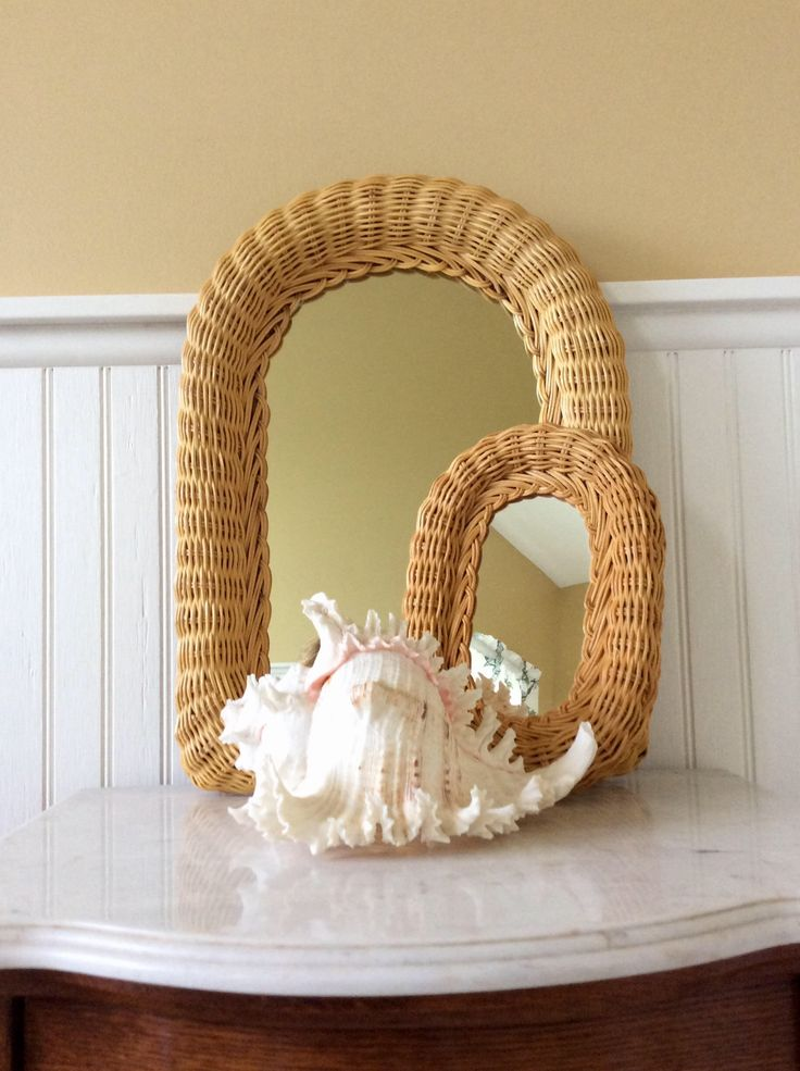 Vintage Wicker Mirror, Arched Style Mirror, Vanity Mirror, Statement Wall, Cottage, Coastal, Tropical, Beach by YellowHouseDecor on Etsy https://www.etsy.com/listing/528649185/vintage-wicker-mirror-arched-style