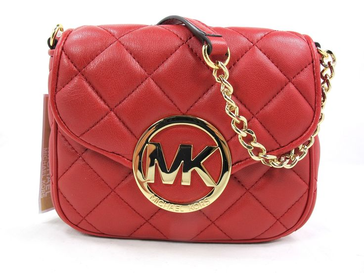 cross body bags: Michael Kors Fulton Quilt Small Cross-body in Scarlet Red  Leather