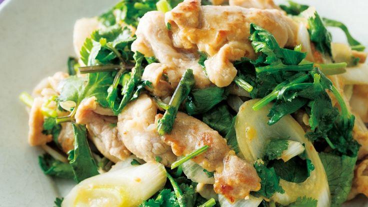 パクチーと豚肉のみそ炒め レシピ 重信 初江さん|【みんなのきょうの料理】おいしいレシピや献立を探そう