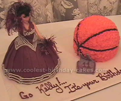 kasey wants a cheerleader birthday cake...i bought the wilton doll mold pan today...pinned this for inspiration