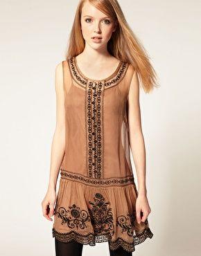 Darling Embroidered Drop Waist Dress