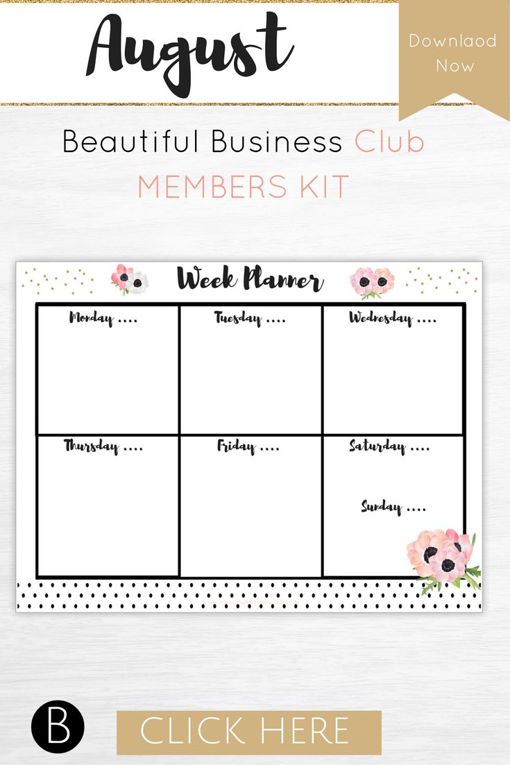 Printable planner - The Beautiful Business Club is designed to help you become more organised, productive and successful. Join the Beautiful Business Members Club now and receive monthly bundles of printable products to help you develop and grow a business you love. With a different mixture of printable workbooks, planners, branding elements, motivation tools, wallpapers and so much more each month is designed to help you focus and become more successful in your business.