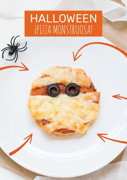 Súper fácil Pizza Momia para hacer en casa con los más pequeños.