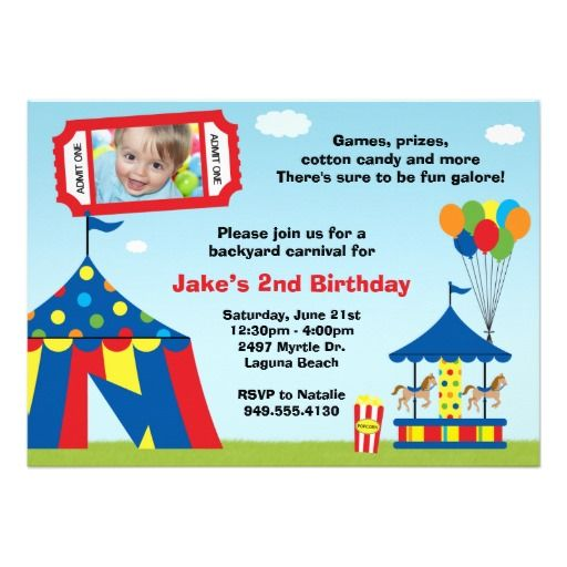 452 best Carnival Birthday Party Invitations images on Pinterest - circus party invitation