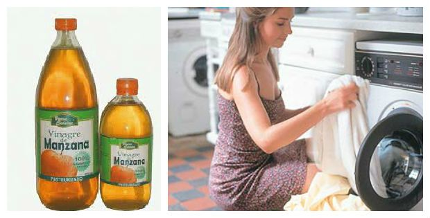 Eliminar manchas  medio litro de agua caliente y una taza de vinagre de manzana, deja en remojo por una hora y si notas que la mancha no cede puedes agregar un poco mas de vinagre, luego de pasado este tiempo lava la ropa de manera normal.