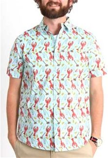 feff3c24a1 Retrofit Lobster Print Woven Short Sleeve Shirt for Men in Blue  WYR8-1880-BLUE
