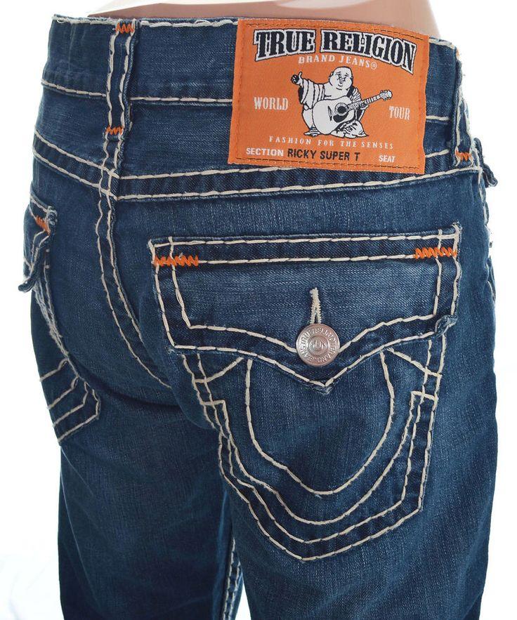 True Religion Mens Straight Ricky Super T Jean Size 38 Blue Rock Hill NWT  $345 #