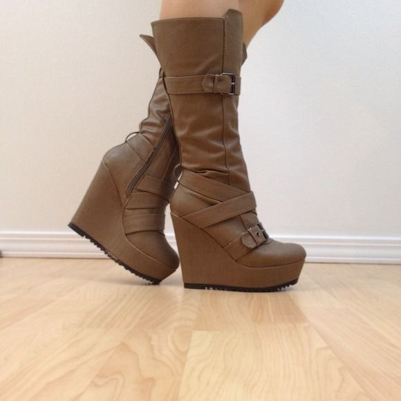 """Selling this """"Taupe Platform Wedge Boots - NEW"""" in my Poshmark closet! My username is: yooni. #shopmycloset #poshmark #fashion #shopping #style #forsale #qupid #Boots"""
