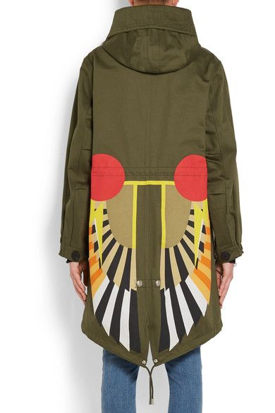Givenchy - Hooded Printed Cotton-twill Parka - Army green - FR34