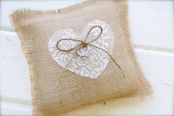 Burlap lace heart ring bearer pillow - burlap and heart pillow - custom heart on Etsy, $20.00