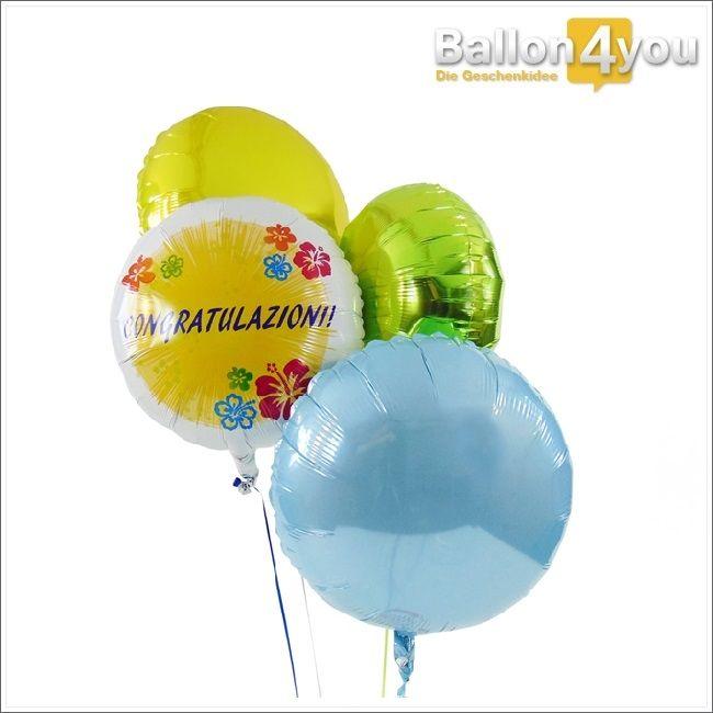 Herzlichen Glückwunsch auf italienisch! Ob zum Geburtstag, bestandenen Prüfung oder anderen Anlässen - über diesen Ballongruß freuen sich alle Freunde der italienischen Sprache. Farblich abgerundet, wird dieses Bukett durch drei weitere, runde Ballons. Congratulazioni!