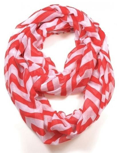 Chevron Infinity Scarf in Red
