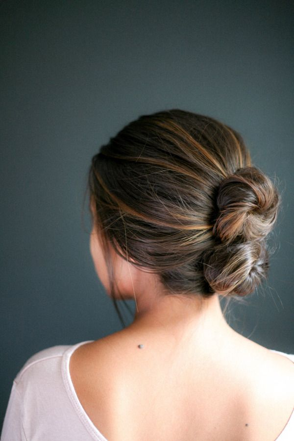 The double bun: http://www.stylemepretty.com/living/2015/02/24/chic-10-minute-hairstyles-to-try/