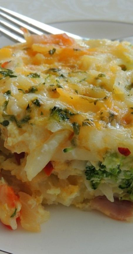 Potato, Broccoli & Pepper Jack Egg Casserole. Let the family smell this baking in the oven on a Saturday morning. The kitchen will be full of sleepyheads finding their way to that aroma instantly:)
