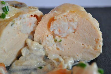 Boudins de saumon cuits à la vapeur sauce crémeuse aux champignons - Blog…