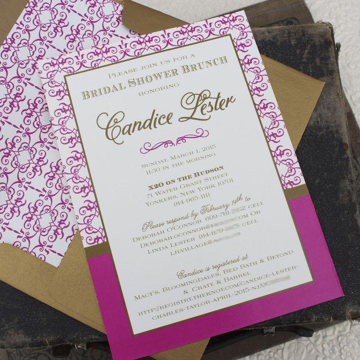 bed bath and beyond wedding invitation kits%0A Damask Bridal Shower Invitation