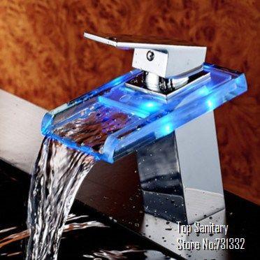 Goedkope , koop rechtstreeks van Chinese leveranciers:   Tb2020# led licht vierkante glazen waterval badkamer wastafel kraan mixer stijlijdelheid met chroom gepolijst  Functie:Lichaamsmateriaal: hoge kwaliteit gehard glas en messin