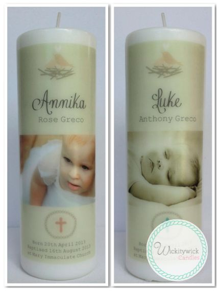 Rustical Photo Personalised Candles by Wickitywick Candles #Baptism Candle #Christening Candle #Naming Day Candle www.wickitywickcandles.com.au