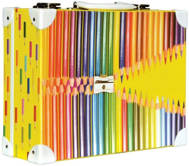 Školní kufřík velký - 35x25x11cm č. 21748 HK Velký  Barevné tužky