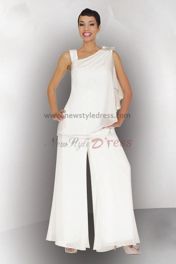 Vestido De Madrinha White Straps Chiffon Sleeveless Beaded Mother Of The Bride Pant Suits Dress