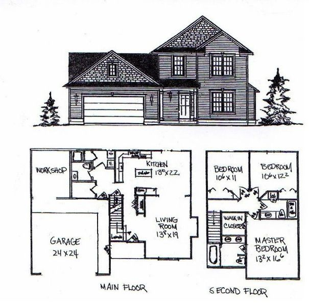 Perfect Story House Floor Plans With Garage Home Design Modern
