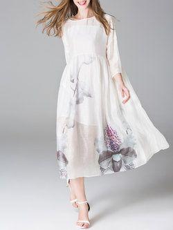 White A-line 3/4 Sleeve Crew Neck #Midi #Dress
