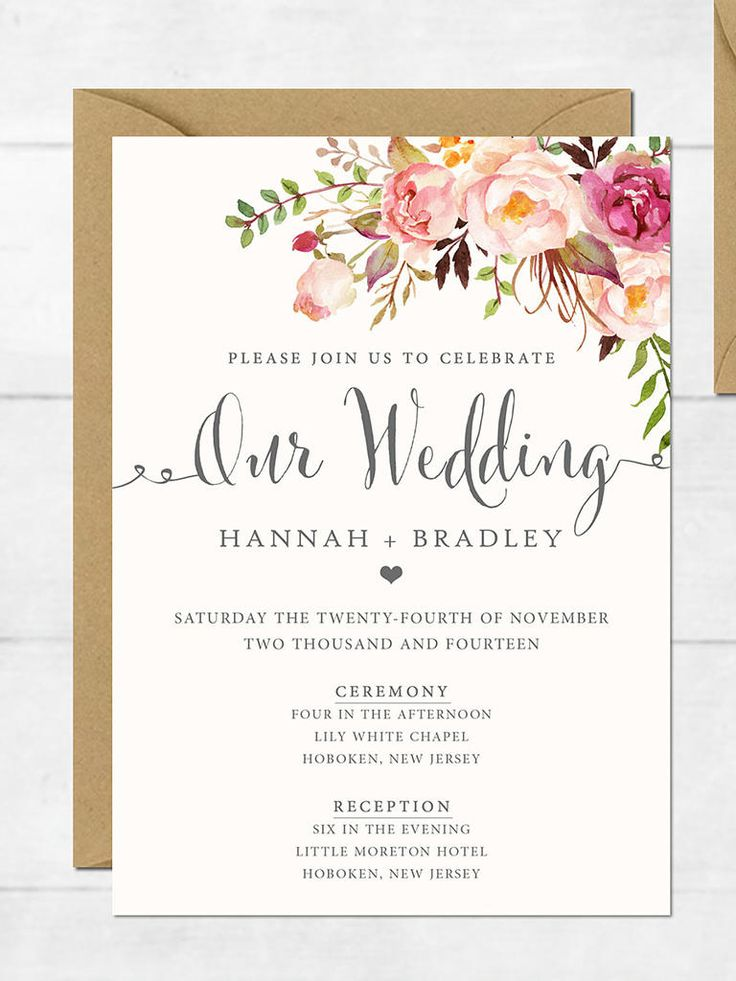 These elegant floral DIY printable wedding invitations feature lush flowers and soft pink hues to set the tone for an intimate affair.