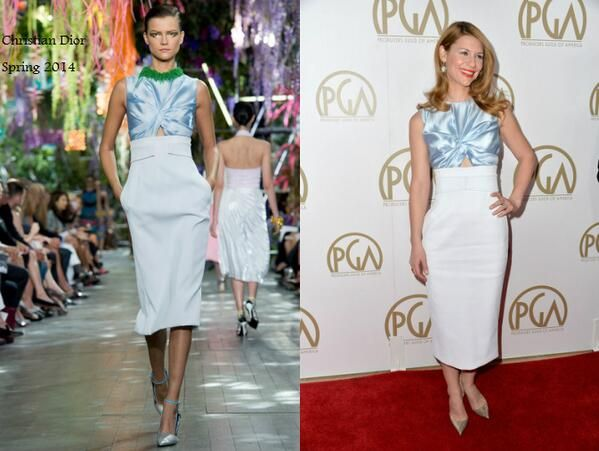 Clarie Danes In Christian Dior - 2014 Producers Guild of America Awards. Re-tweet and favorite it here: https://twitter.com/MyFashBlog/status/425371912164741121/photo/1