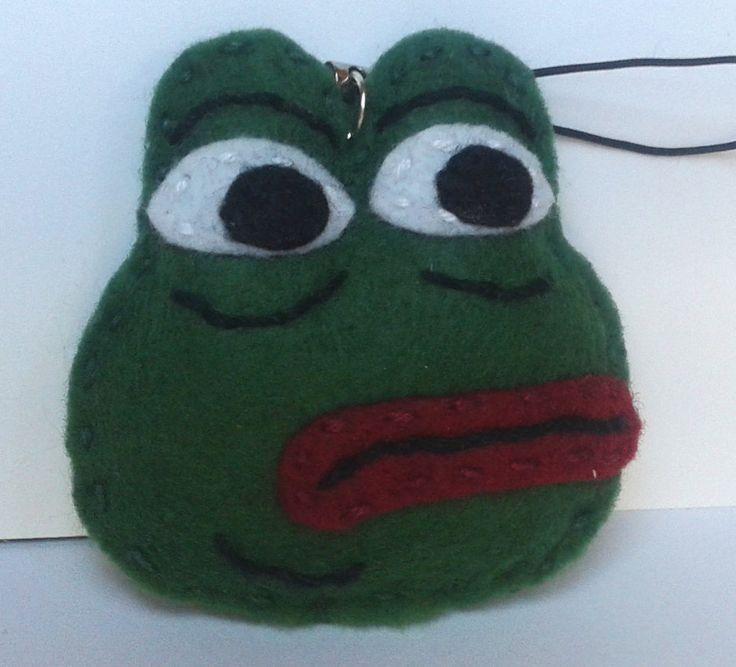 Pepe the sad frog handmade geeky key ring made from felt