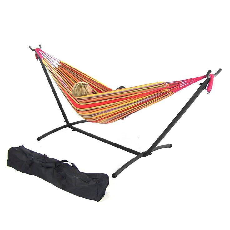 Sunnydaze Double Brazilian Hammocks - Multiple Colors & Options to Choose (Hammock & Stand - Sunset) (Cotton) #DB Combo-Oasis, Patio Furniture