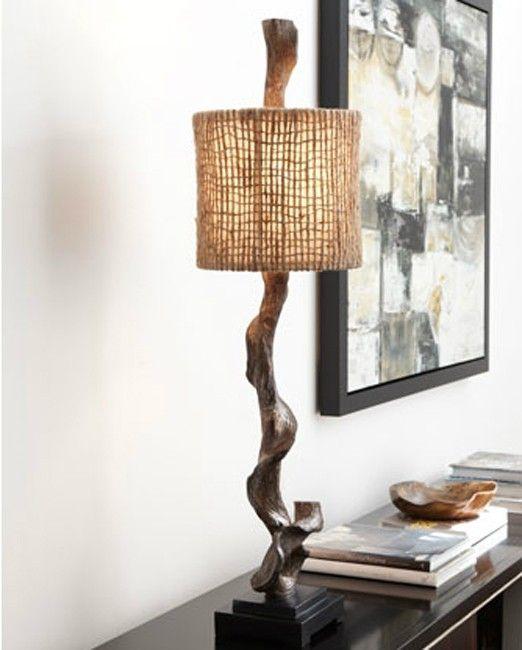 Driftwood Table Lamp Rustic Buffet Coastal Decor Eco Friendly Neiman Marcus New