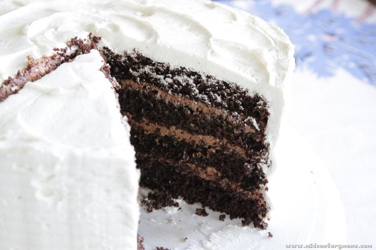 Black Magic Chocolate Cake, a cake made with tomato soup, sounds odd but it is seriously amazing and crazy moist!  from:www.midcenturymenu.com