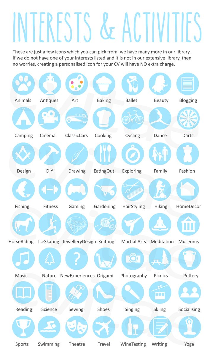 interest  u0026 activity icons for infographic cv resume by cvitae design  icons not for reuse
