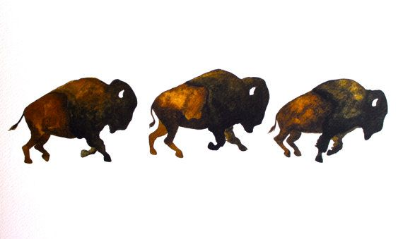 Bison Run - Watercolor Painting - Large Archival Print - 8x10 Buffalo.  Why do I want this so badly?!
