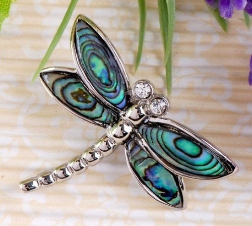 Abalone Shell Silver Dragonfly Pendant Charm Necklace, by galaxyplace.artfi...