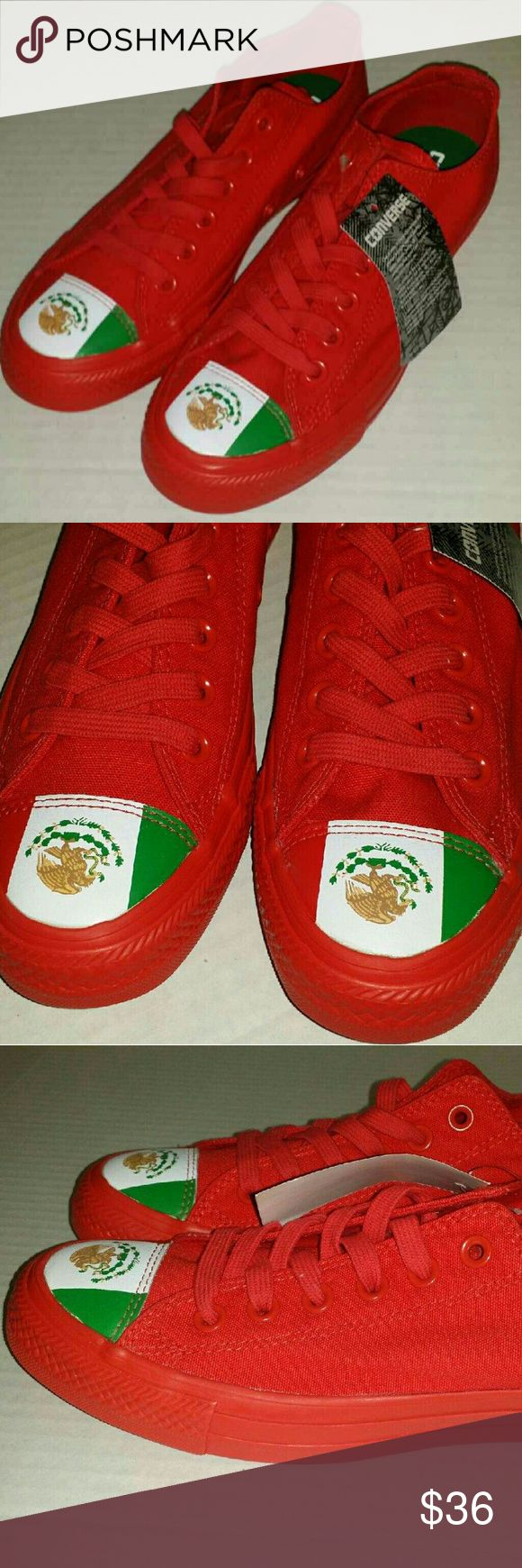Red Converse Mexican flag toe Red Converse with Mexican flag on toe. Unisex. Size 5 mens. 7 Womens.  Shoes are new without box. They have a converse tag attached. Last picture shows some spots of  manufacturers shoe glue on the toe. It is not very noticeable. Converse Shoes Sneakers