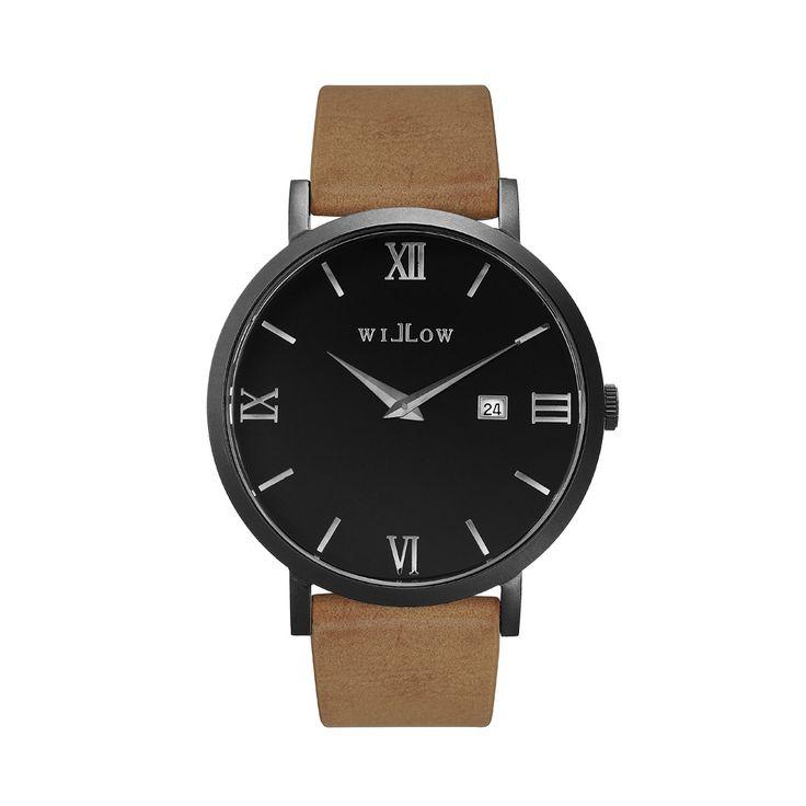 Verona Matte Black Watch & Interchangeable Beige Vegan Strap.