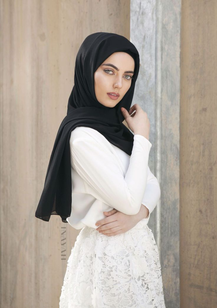 INAYAH | Crochet Love: White Crochet Lace #Skirt + White Crepe #Top + Black Georgette #Hijab - www.inayah.co