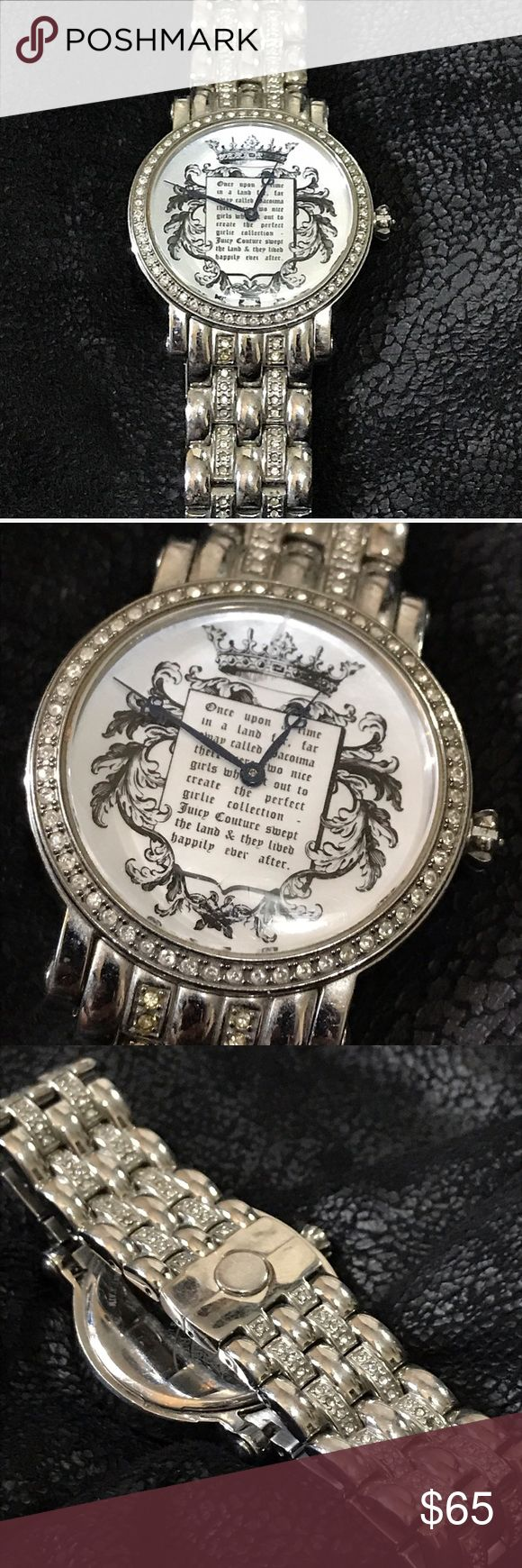 """Juicy Couture """"Once Upon a Time"""" Watch Stainless steel Juicy Couture Watch. Light scratches. Beautiful piece! There is one crystal missing on link, which is barely noticeable. All crystals around face intact. Loved this watch and is definitely one of my favorites by Juicy! Feel free to ask questions! It does need a new battery! Juicy Couture Accessories Watches"""