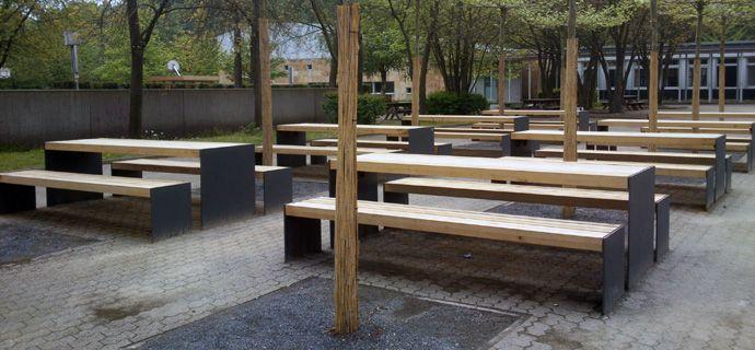 St. Pius Gymnasium, Coesfeld, Stadtmobiliar, public design, Bänke, Tische, Sitzbänke, Hockerbänke, Seating & tables, Rundbänke